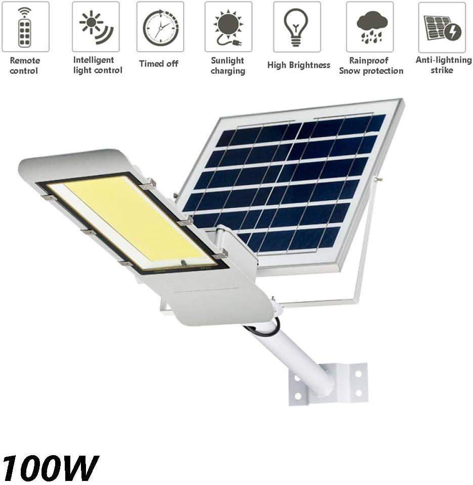Farola solar LED de 100 W: luz de seguridad solar de alto brillo con control remoto Lámpara de ingeniería a prueba de agua IP65 adecuada para patio, iluminación de carreteras: Amazon.es: Iluminación