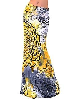 Faldas Mujer Verano Estampados Flores Talle Alto Slim Faldas Largas  Elegantes Vintage Boho… ecbe11cafaae