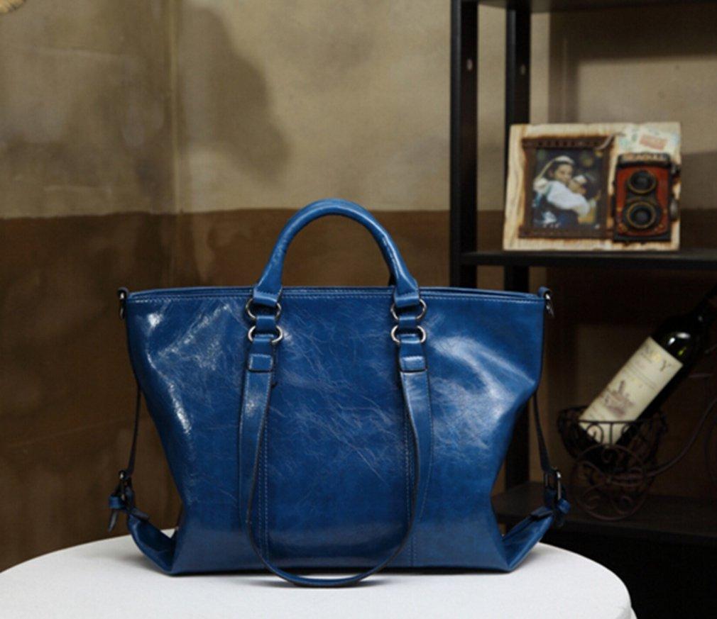 HENGSONG Femme PU Cuir Huile Moto Sac Grande Capacit/é Sac /à Bandouli/ère Sac /à Main Bleu mode