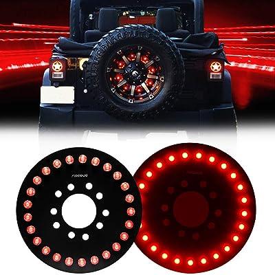 FIREBUG Jeep Wrangler 3rd Brake Light Red for Spare Tire, Jeep LED Brake Light, Jeep Accessories Lights for Spare Tire, Jeep Wrangler Spare Tire Brake Light JK JKU 2007-2020, Rubicon Sahara: Automotive [5Bkhe2002896]