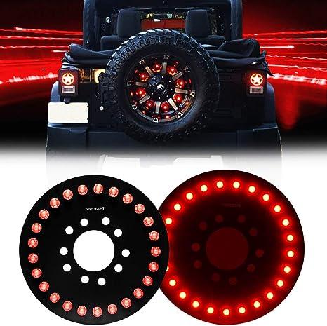 FIREBUG Jeep Wrangler 3rd ke Light Red for Spare Tire, Jeep LED ke on