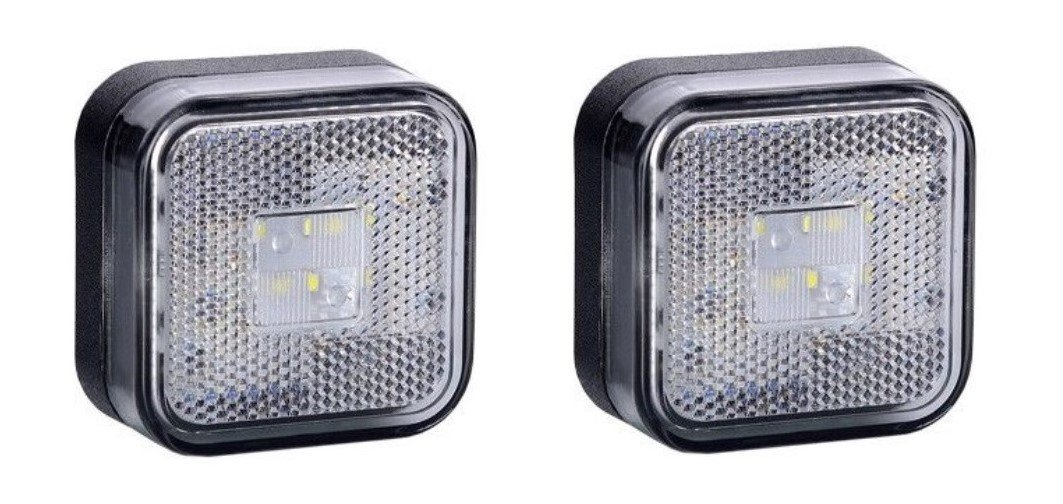 2 x White Square LED Outline Front Marker E-marked Lights with Integrated Reflector Truck Trailer Motorhome Chassis Lorry Camper Caravan