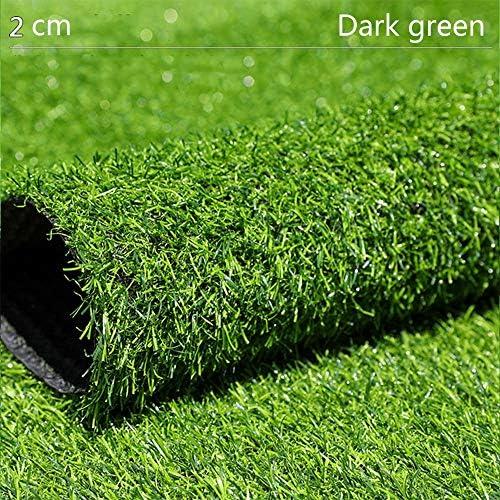 GAPING 人工的な草の排水穴のゴム製裏付けの総合的で厚い芝生の芝生のカーペット屋内、屋外の景色の高さ20 Mm 3色に最適 (Color : Dark green, Size : 2x0.5m)