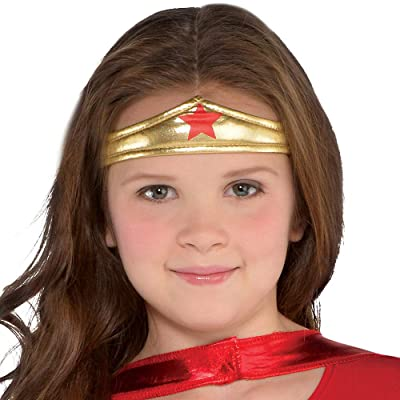Red Wonder Woman Toddler Girls/' Costume Dress with Gold Tiara Headband and Cape