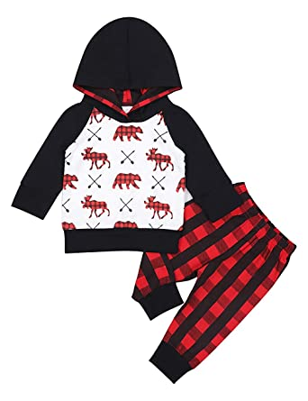 546cd98e Toddler Kids Baby Boy Girl Bear Fox Sweatshirt Long Sleeve Hoodie Tops  Sweatsuit Pants Outfit Set