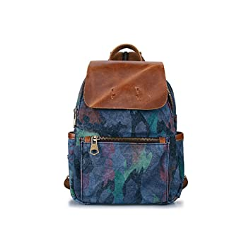 38282f5cec45 YCLED Camouflage Backpack Retro Canvas Backpack Casual Travel Hiking Unisex  School Bag (Color   A