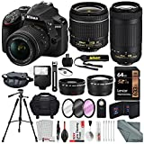 : Nikon D3400 with AF-P DX NIKKOR 18-55mm f/3.5-5.6G VR + Nikon AF-P DX NIKKOR 70-300mm f/4.5-6.3G ED Lens + 64GB, Deluxe Accessory Bundle and Xpix Cleaning Accessories