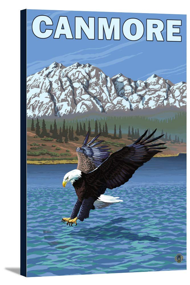 Canmore、アルバータ、カナダ – 釣りEagle 24 x 36 Gallery Canvas LANT-3P-SC-19363-24x36   B0184AKUCU