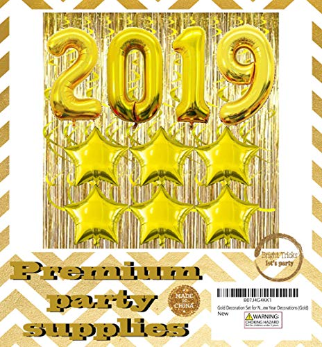 Updated: Gold Graduation Party Decorations & New Years Decorations. Huge 2019 Balloons, (2) Gold Foil Fringe Curtains, (6) Gold Foil Star Balloons, (8) Gold Ceiling Spirals. 2019 -