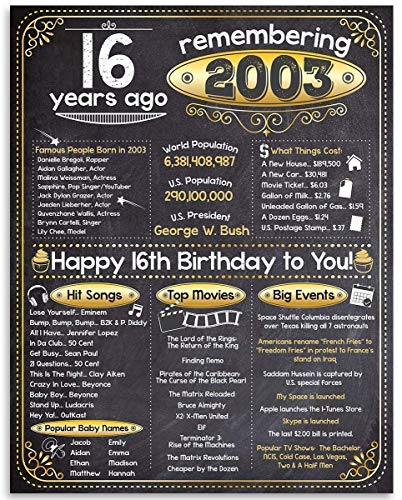 16th Birthday Poster (Sixteen, 16) - Remembering The Year 2003-11x14 Unframed Art Print - Makes a Perfect Birthday Decoration Under $15