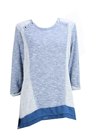 Style & Co. Heather Blue Sweater L at Amazon Women's Clothing store: