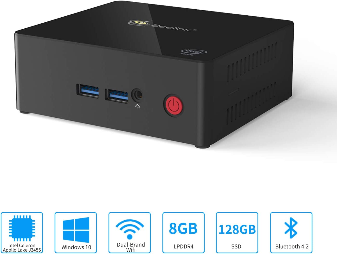 Mini PC, Aoxun Windows 10 64-bit Intel Celeron J3455 Processor(up to 2.3GHz) Desktop Computer,8G DDR3 128G SSD,1000Mbps LAN / 2.4+5.8G WiFi / BT4.2/4xUSB/2xHDMI/4K