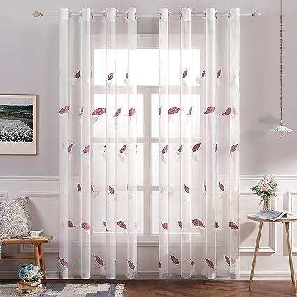 miulee lot de 2 noel voilages a oeillet moustiquaire broderie en polyester motifs de feuilles d erable voile rideaux de fenetre decoratives pour salon