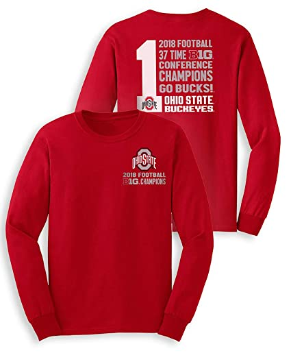 79c933dbd39 Elite Fan Shop Ohio State Buckeyes Big Ten Champs Long Sleeve Tshirt 2018  Left Chest Red