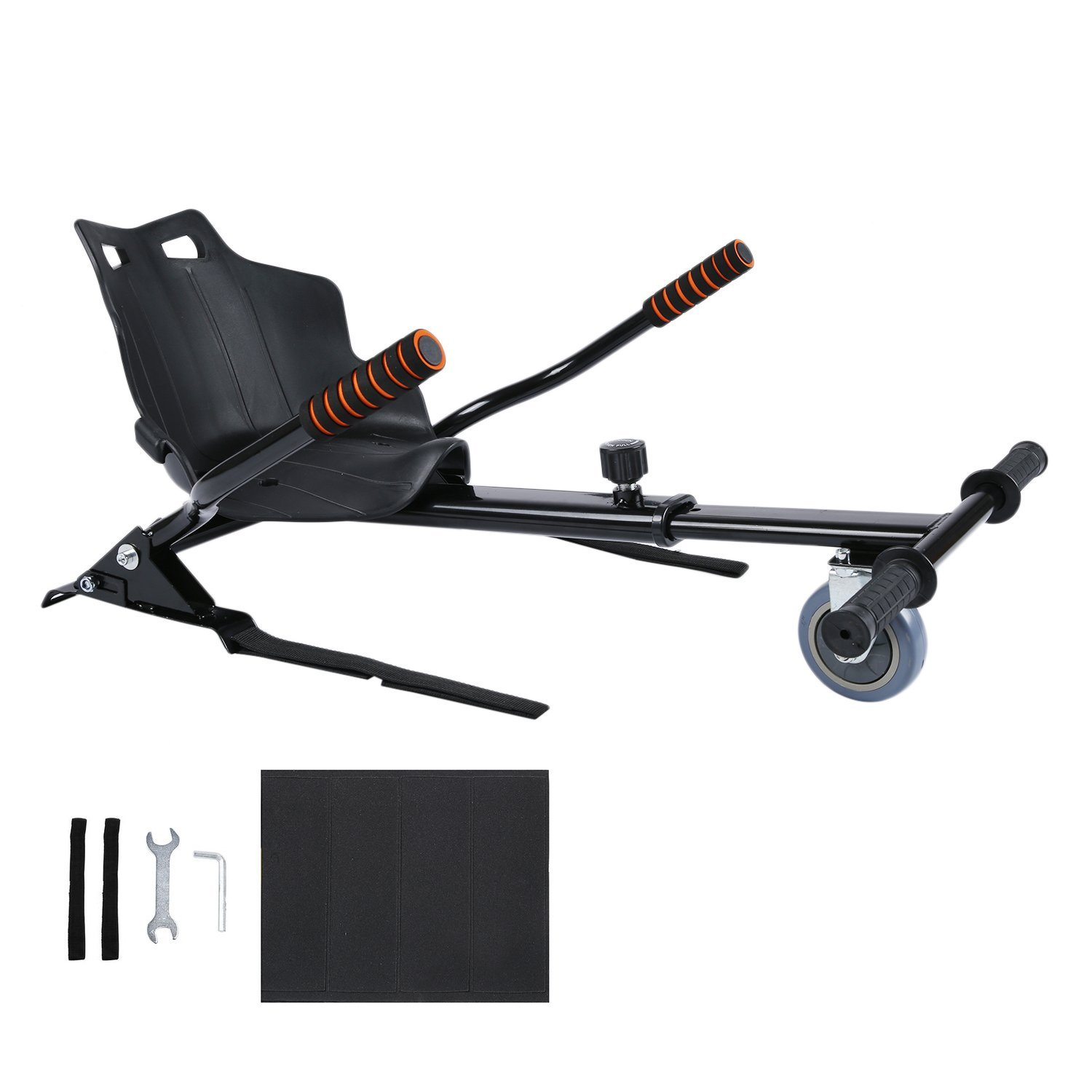 Hover Seat,Hoverboard accessaries,Big Wheel Go Kart for Hoverboards - Length Adjustable Shock Absorber Go Kart Hover Seat for Swegway Hoverboard Electric Scooter fit All Heights All Ages (Black)