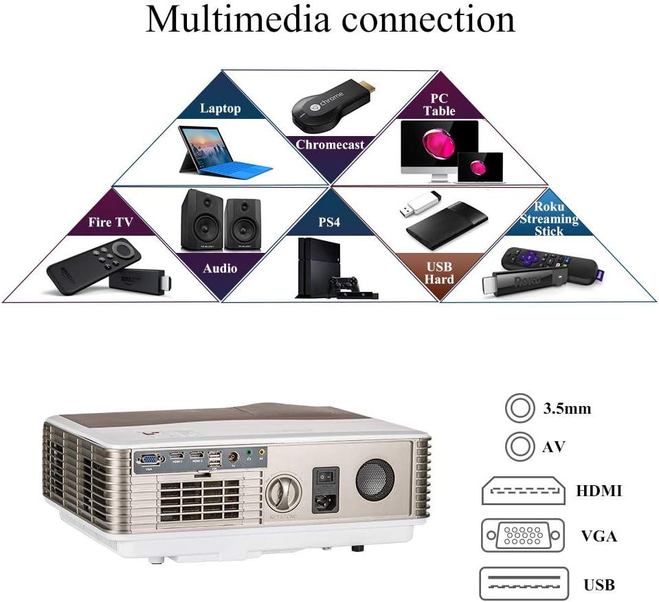 WIKISH Proyector de video LED 1080p, LCD Proyectores de cine para cine en casa digital 5000 lúmenes HDMI VGA Audio USB para TV Stick Blu ray Reproductor de DVD Wii Xbox Entretenimiento