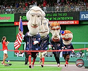 The Presidents Race. Mascots of the Washington Nationals. Photo by Photo File