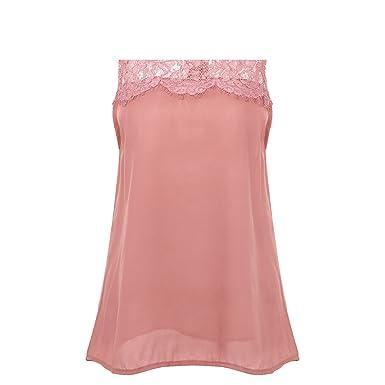 79e5212e15f418 Women Summer Office Shirts Chiffon Blouse Women Lace up Sleeveless White Blouses  Shirts Pink S