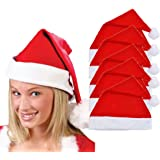 Koly 5 PC Christmas Party Hat Unisex Adult Xmas Red Cap Santa Novelty