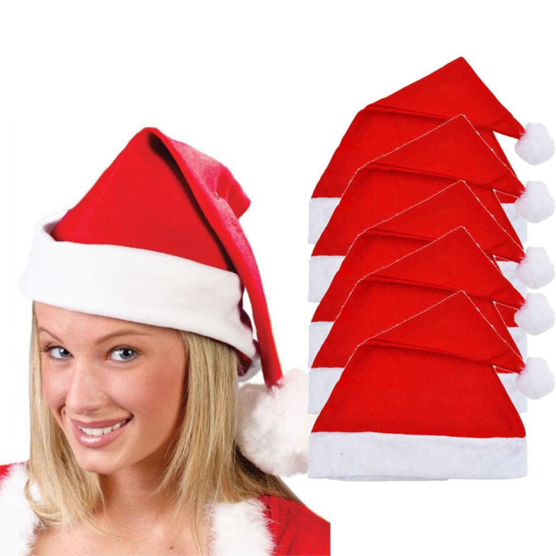 Koly 5 PC Christmas Party Hat Unisex Adult Xmas Red Cap Santa Novelty Koly-SF06010