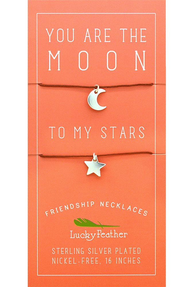 Lucky Feather Moon/Star Friendship Necklace, 1 Each
