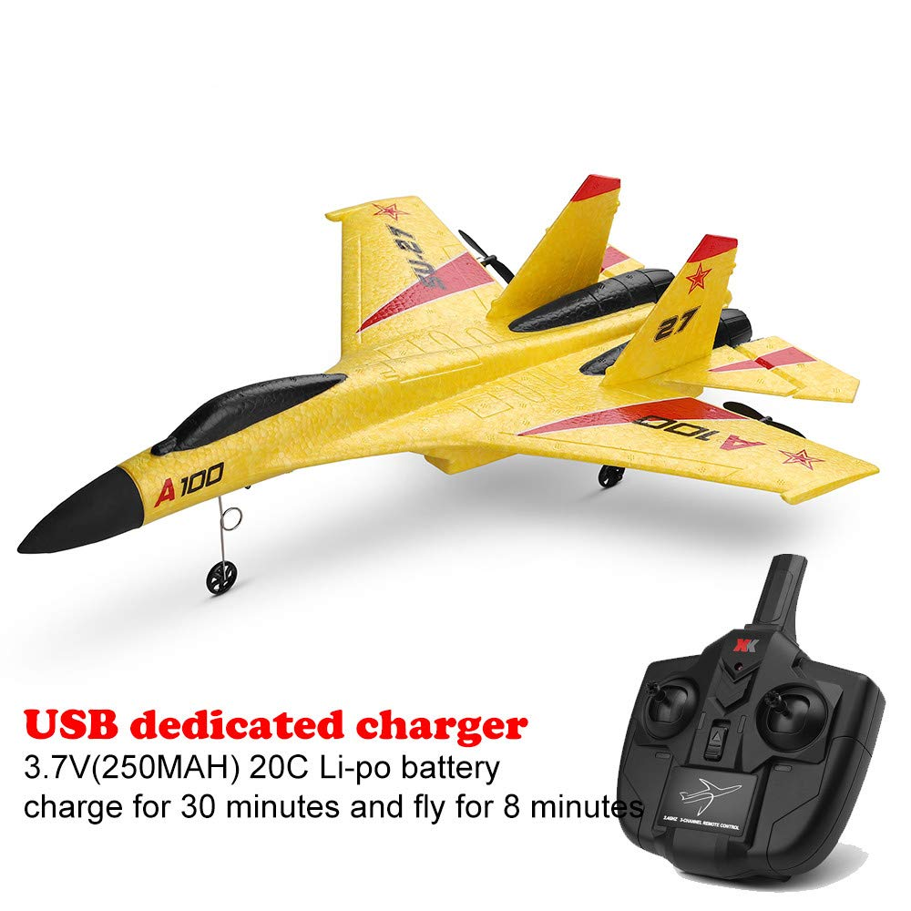 Wotryit WLtoys A100 3 Channel Remote Control Airplane, A100 SU-27 Mode 2.4 GHZ Vertical Take Off Land Delta Wing RC Flying Aircraft Toys RC Glider Indoors & Outdoors_Small Remote by Wotryit (Image #7)