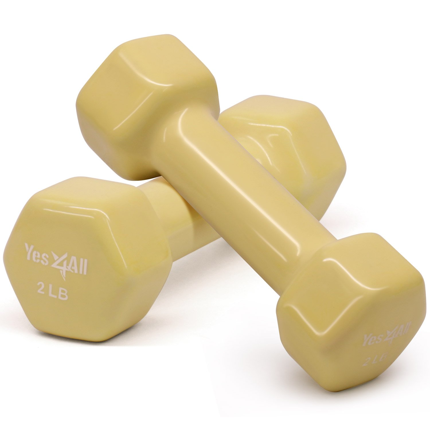 Yes4All Deluxe Vinyl Coated Cast Iron Dumbbell Weights - PVC Dumbbell Sets for a Total Body Workout (Sets of 2, Yellow, 2lbs)