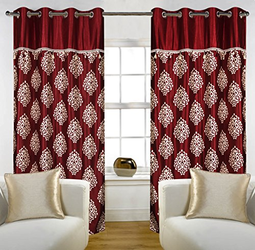 Home Candy Eyelet Fancy Polyester 2 Piece Door Curtain Set – 84″x48″