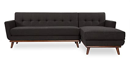 Kardiel Jackie Mid Century Modern Sectional Sofa Right, Charcoal Cashmere  Wool