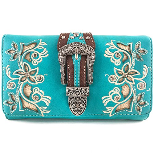 Justin West Laser Cut Rhinestone Silver Buckle Studded Cross Shape Design Wristlet Trifold Wallet Attachable Long Strap (Turquoise) ()