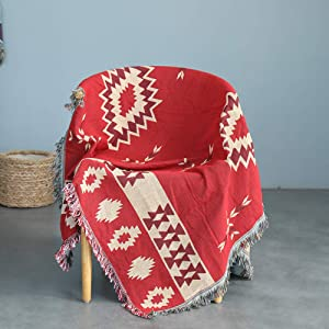 """Southwestern Throw Blanket with Fringe for Couch Bed, Cotton Woven Decorative Southwest Throws for Chair Sofa Living Room Bedroom Wall Decor - Red Beige, 50"""" x 60"""""""