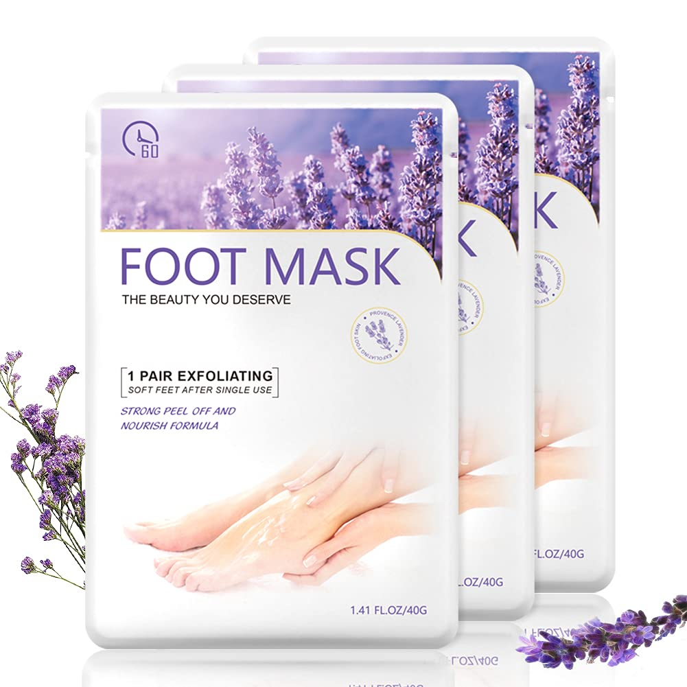 CHAINPLUS Exfoliating Foot Peel Mask - 3Pcs Skin Remover Natural Treatment For Dead Skin Calluses & Dry Skin - Repair Rough Cracked Heels - Baby Soft Smooth Touch Feet Men & Women Foot Care