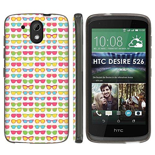 [Mobiflare] HTC Desire 526 TPU Silicone Phone Case [Black] Ultraflex Thin Gel Phone Cover - [Sunglasses] for HTC Desire 526 [4.7