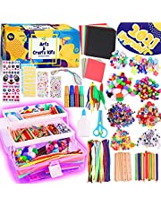 InnoRock Cool Arts and Crafts Supplies - Pipe Cleaners Things for Teen Girls Craft Kits and Materials Bracelet Jewelry Making Kit for Ages 5 6 7 8-12 Construction Paper Plastic Storage Glitter Googly