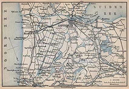 Amazoncom AMSTERDAM Environs Utrecht Leiden Haarlem Zaandam - Amsterdam old map