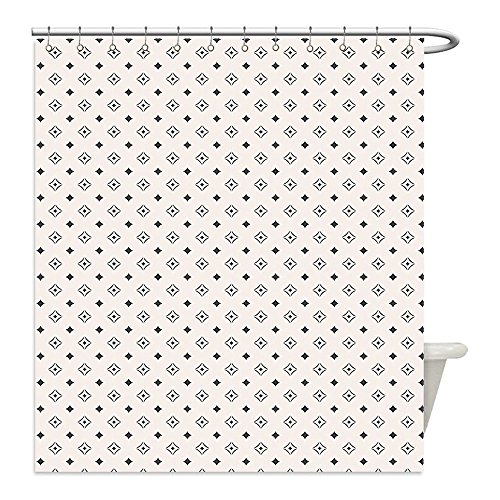Lg Icon White (Liguo88 Custom Waterproof Bathroom Shower Curtain Polyester Geometric Old Fashioned Wallpaper Design with Floral Like Geometrical Icons Art Print Black and White Decorative bathroom)
