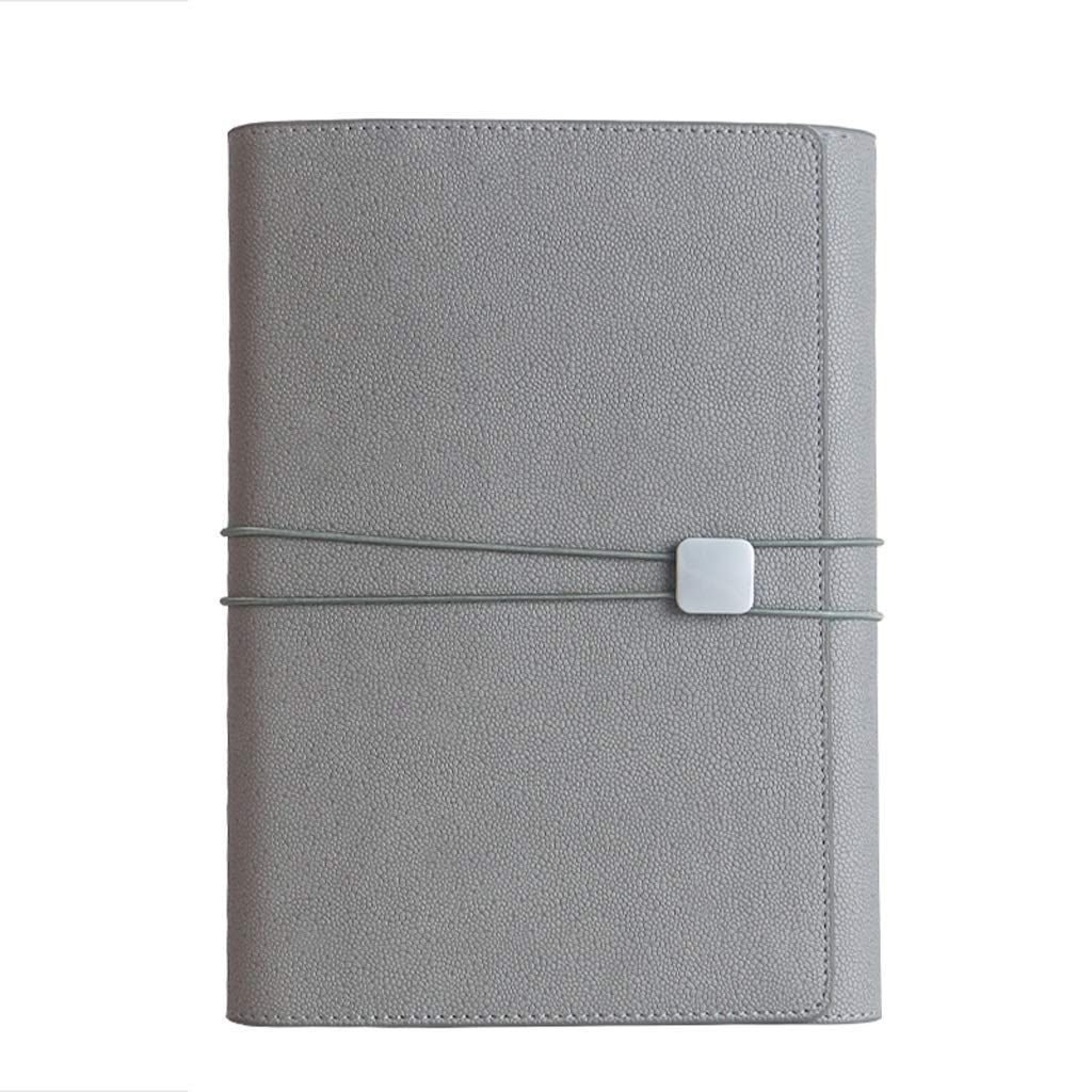FS A5 Ring Binder, Business Multi-Function Notebook, Refillable, Business Ring Binder Cover Notebook 90 Sheets of Regular Filling Paper, Suitable for Everyone Over Three Years Old (Color : Gray)