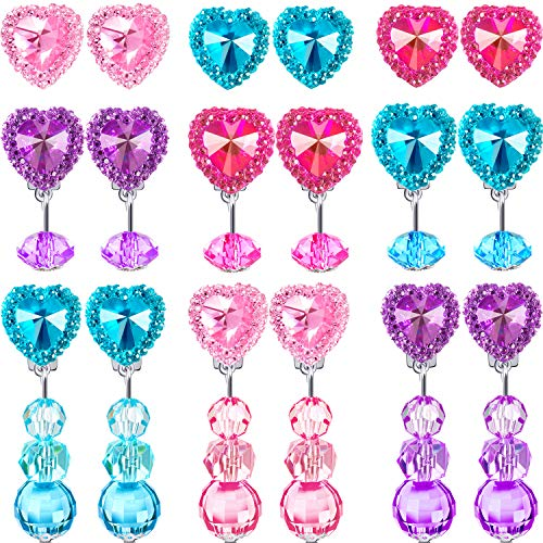 Hicarer 9 Pairs Girls Clip-on Earrings Pretend Princess Play Earrings Jewelry Set (Style 4)