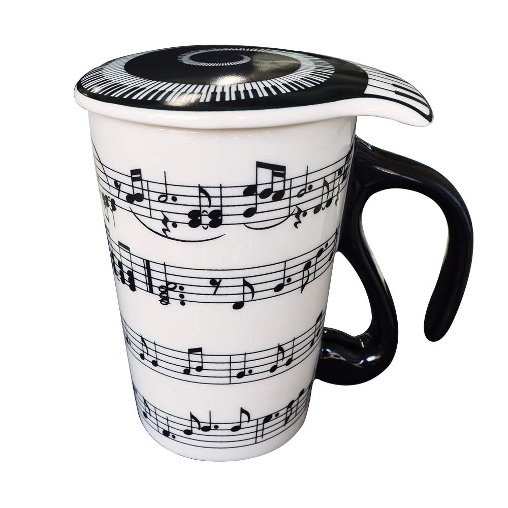 Giftgarden -400ml Coffee Tea Travel Mug with Lid Staves Music Notes Ceramic Cup