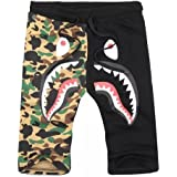 Shark Pattern Camouflage Stitching Shorts Men Drawstring Black Sports Shorts