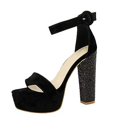 f43af234d728 Perfect-Starry sandals Flock Women Super High Heels Platform Shoes Summer  Open Toe Buckle Glitter