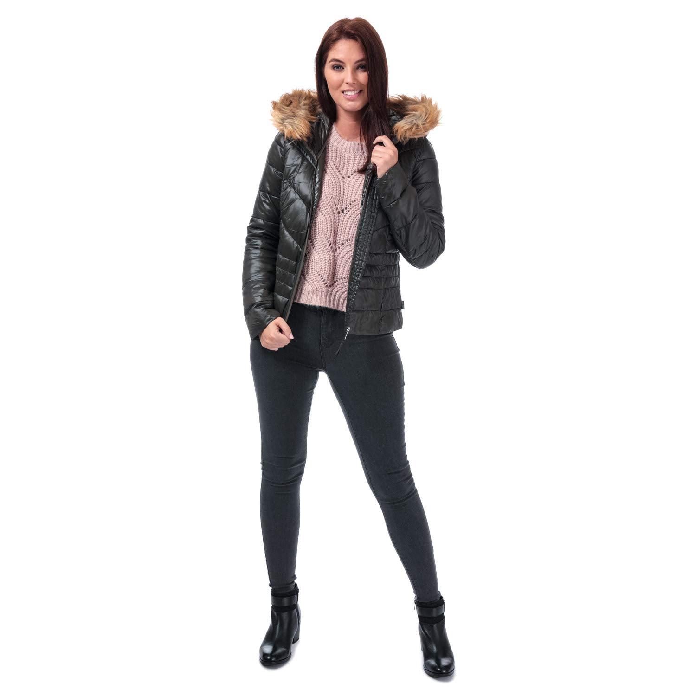 Vero Moda Womens Soraya SIV Faux Fur Trim Jacket in Peat