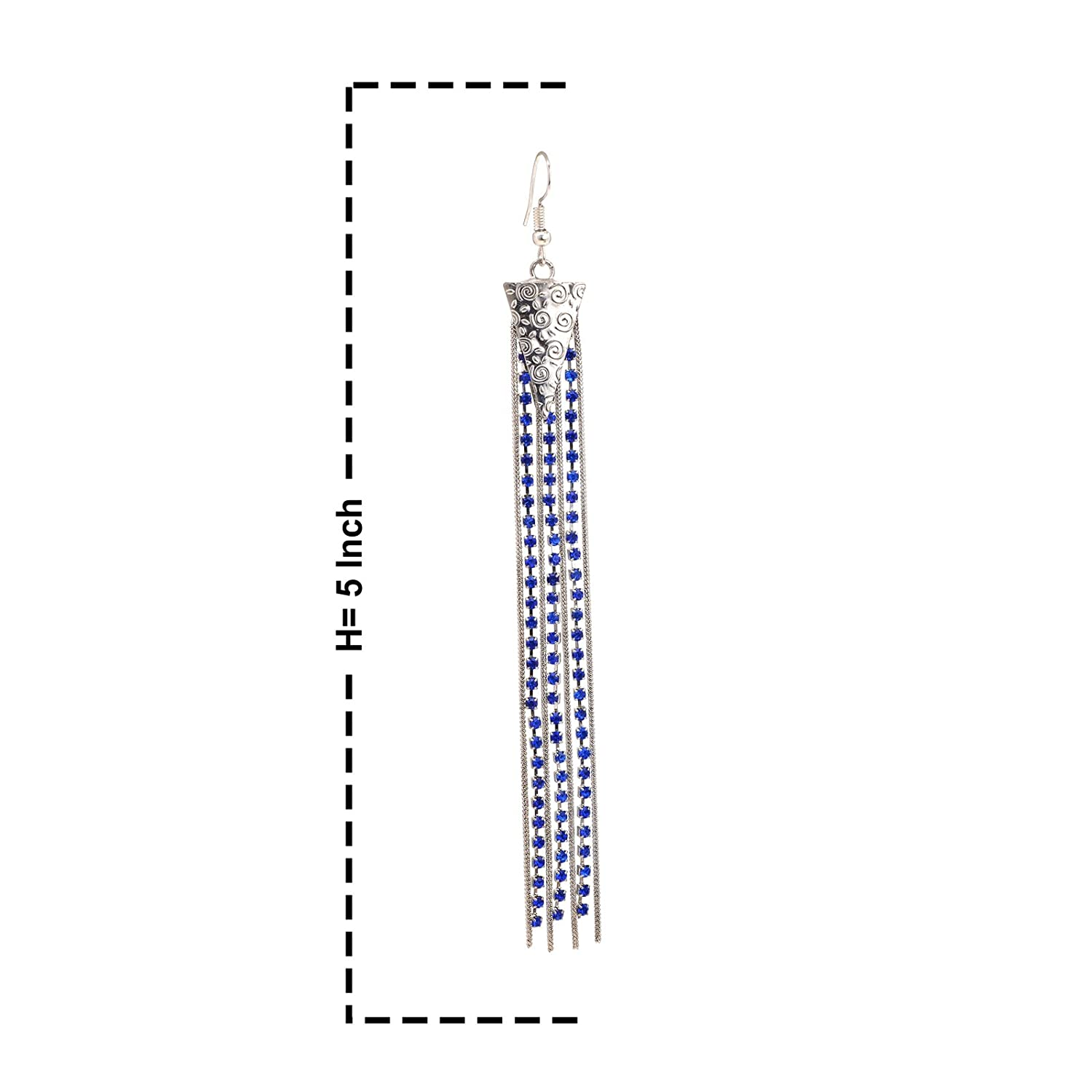 Oreleaa Fashion Earrings Long Dangler with Silver Metal and Blue Zircon For Women and Girls