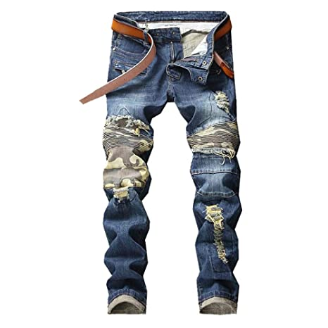 Jeans calientes Pantalones vaqueros moteados de motorista de ...