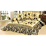 Tache Home Fashion BM895-S S 6 Piece Autumn, Single, Golden Green Floral Falls Patchwork Comforter Set