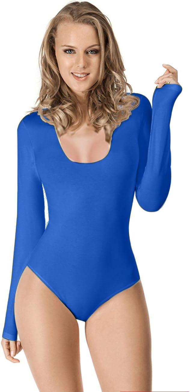 Maillot de Danza Ballet Gimnasia Leotardo Body Clásico Elástico para Mujer de Manga Larga Cuello Redondo (XL, Azul)