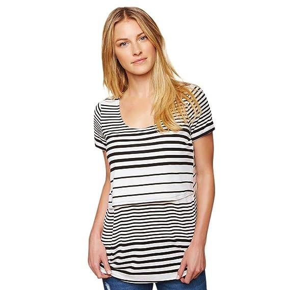 BBsmile Premamá Bañador Mujer Mamá a Rayas Empalme Embarazada Enfermería Bebé para la Maternidad Blusa T-Shirt Tops: Amazon.es: Ropa y accesorios