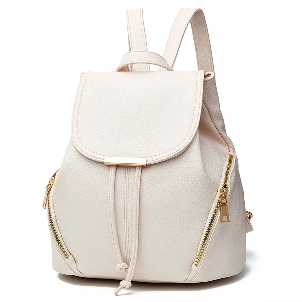 White Backpacks for girls women Vvting brand soft pu leather with 2 zipper pockets outside