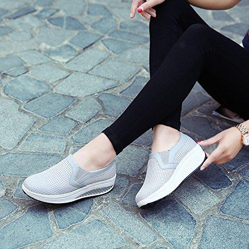 39 Gris de de Azul Eje Las de Solos del Color tamaño EU balancín Transpirables de Caminan Qiusa los Malla Zapatos Gran Mujeres la Que Instructores tamaño q4AwIS0p