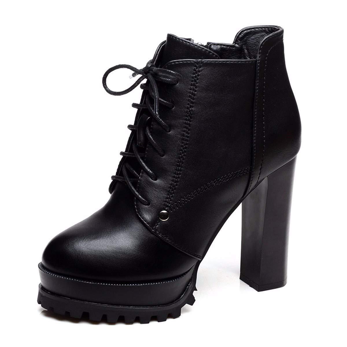HBDLH Damenschuhe Kurze Stiefel High 11Cm Wasserdicht - Plattform Frenulum Dicke Sohle Dicke Sohle High - Heel Ma Dingxue.
